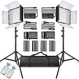 SAMTIAN LED Video Luz 600 LED Cámara/Kit de luz de Estudio: CRI95 3200K / 5600K luz,Puertas de Granero, Soporte de 75'', Battería Li-Ion Recargable y Cargador para Fotografía Estudio Youtube Video