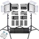 SAMTIAN Lumiere LED Video 600 Caméra/Studio LED éclairage Kit : CRI95 3200K/5600K LED Lumière avec Batteries, Support de 75 Pouces et Contrôle à Distance pour La Photographie en Studio, Vidéo