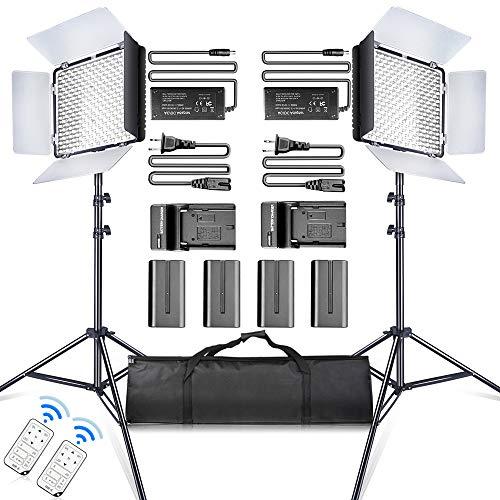 SAMTIAN 2 Stück 600 LED Video licht/Studioleuchte-Kit beinhaltet : CRI95 3200K / 5600K-Kameraleuchte, 75''Lichtstativ, batterien und Fernbedienung für Für Videofotografie,Studiofotografie