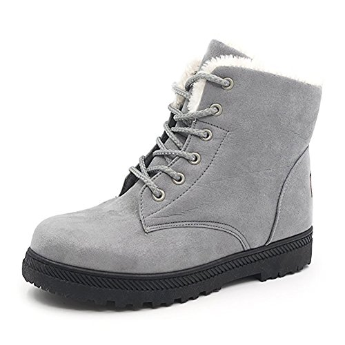 Wicky LS Damen Winter Worker Boots Outdoor Stiefeletten Warm Gefüttert Sneaker (39, Grau)