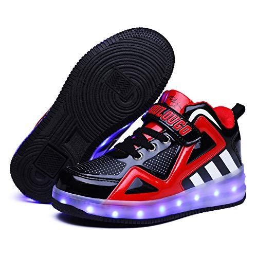 Scarpe da Ruota per Ricarica USB per Bambini con luci Scarpe da Skateboard a LED Scarpe da Tennis per Regalo per Principianti per Bambini Unisex per Bambine,A,35EU