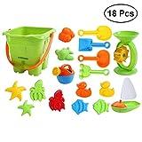 YeahiBaby 18 Stücke Strand Sandspielzeug Set mit Eimer Schaufel für Baby Kinder (Zufällige Farbe)