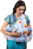 #4: MomToBe Blue Bear Feeding Pillow with front pocket - HD Foam 100% Cotton Fabric