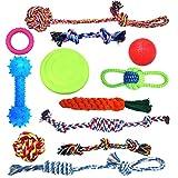 HoneyGuaridan Hundespielzeug Welpe Kauen Hundeseilspielzeug,12 Vorteilspack Hundekugeln Hundeknochen Plüsch-Hundespielzeug Hundeseile Hundefrisbee - Tauziehen - Spielzeuge für mittlere und große Hunde