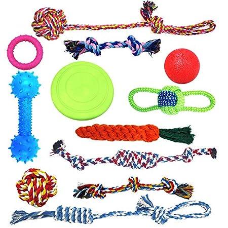 HoneyGuaridan Hundespielzeug Welpe Kauen Hundeseilspielzeug,12 Vorteilspack Hundekugeln Hundeknochen Plüsch-Hundespielzeug Hundeseile Hundefrisbee – Tauziehen – Spielzeuge für mittlere und große Hunde