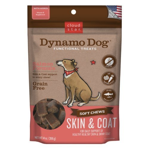 Cloud Star Dynamo Dog Skin and Coat Functional Treat Pouches, Salmon, 14-Ounce by Cloud Star Corporation -