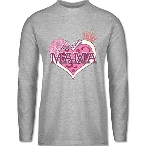 Statement Shirts - Beste Mama - Longsleeve / langärmeliges T-Shirt für Herren Grau Meliert