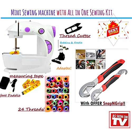 ZDELHI Portable & Desktop Multifunctional Sewing Machine Electric Mini With Snap N Grip Auto Adjustable Wrenches-2 Pcs Set With Foot Pedal Bobbin & Adapter