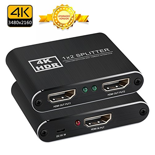 HDMI Splitter 1 in 2 4K * 2K aktive Verstärker Unterstützung volle 3D HD 3840 x 2160 P 1x2 HDMI Schalter Konverter Adapter mit HDMI Kabel und USB Kabel für Mac PC HDTV Blu-Ray Play DVD PS3 PS4