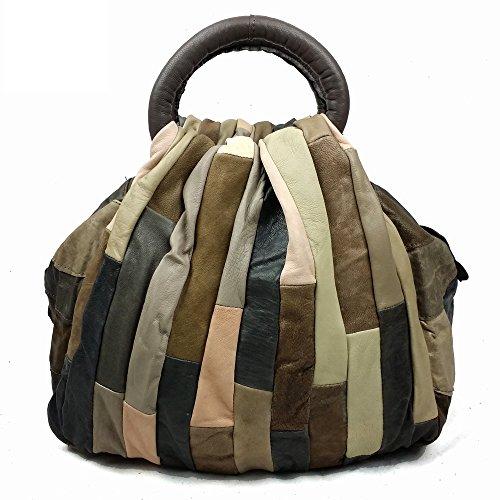 Echt-leder-handtasche Tote Bag (JBAG-one Damen Handtaschen Echtes Leder Totes Designer Handtasche Damen Vintage Patchwork Messenger Bag,Green)