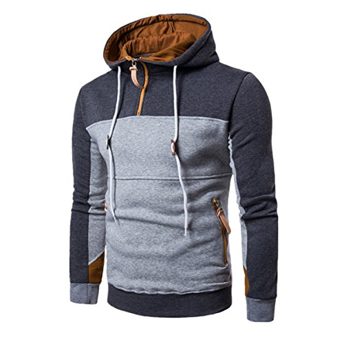 VENMO Mode Patchwork Langarm Männer Pullover Mantel Stand Kragen Pullover Outwear (XL, Deep Gray) (Zip Pullover Zurück)