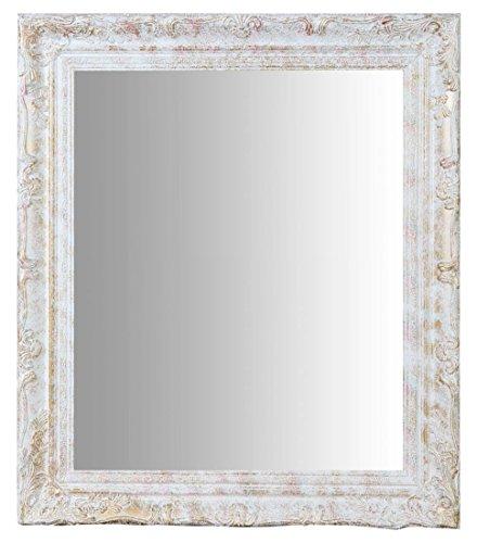 biscottini specchio specchiera da parete con cornice rettangolare in legno 64x4x74 cm finitura argento anticato da appendere verticale/orizzontale