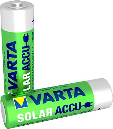 Varta SOLAR Micro NiMh Akku (AA, 800mAh, 2er Pack, wiederaufladbar ohne Memory-Effekt - sofort einsatzbereit)