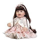21.6 Zoll 55Cm Wiedergeborene Baby-Puppe Weiche Silikon-Tuch Körper Lange Haare Smilely Real Lebensecht Für Kleinkinder Valentinstag Weihnachtsgeschenk Kindern Präsentiert HOJZ,Girl