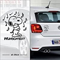 Snoopy #5 Musik - Noten | Baby - Name On Board | Wunschtext | Auto Aufkleber | Lustig