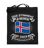 Für alle, die Island lieben! - Jutebeutel (mit langen Henkeln)