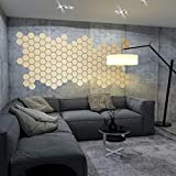 5 x Designfliese Hexagon Wanddeko Wandkunst Wandtattoo Fliesen aus 3mm Aluminiumverbund 14cm Gold-Gebürstet 007