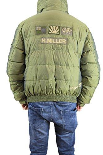 Kejo Gaiking Patch Goose Down Jacket piumino con toppe ricamate Green, Brown Green