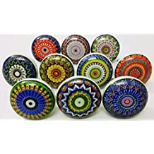 India Botones de Juego de 10pomos de cerámica multicolor soporte de cocina pomos tiradores de cajón tire Cabinate habitación de los niños