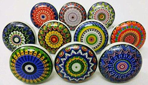 Indianknobs - Juego de 10 pomos de cerámica planos de varios colores para cocina, cajón, armario o habitación infantil