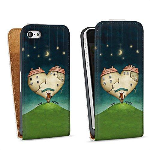Apple iPhone 5 Housse étui coque protection Amour Amour C½ur Sac Downflip blanc