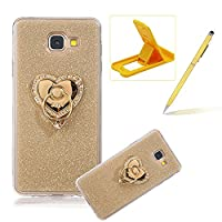 For Samsung Galaxy A7 2017 Cover,For Samsung Galaxy A7 2017 Rubber Case,Herzzer Super Slim [Gold Gradient Color Changing] Dust Resistant Soft Flexible TPU Bling Glitter Protective Case with 360 Degree Ring Grip Holder Stand for Samsung Galaxy A7 2017 + 1
