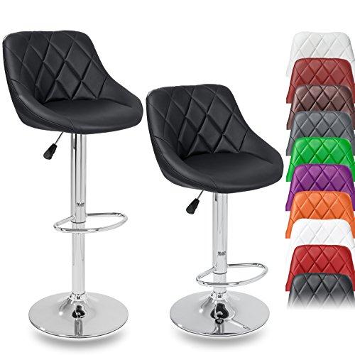 DWD-Company 2er Set Barhocker Barstuhl 10 Farben wählbar, 360° frei drehbar, Sitzhöhenverstellung 60-80cm (Schwarz) (Bar Hocker-set Schwarz)