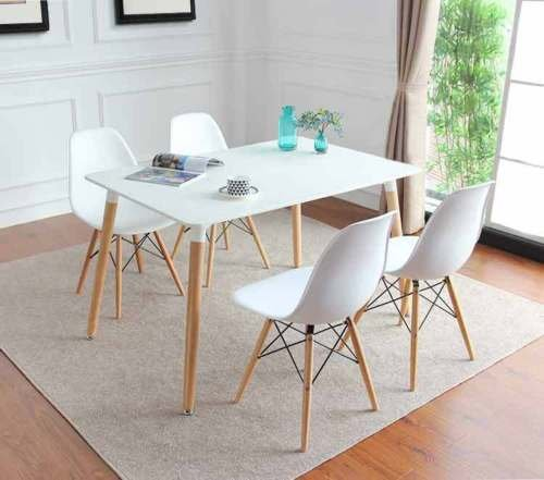 KOSY KOALA Charles & Ray Eames Inspired Eiffel DSW Retro Design Wood Style Chairs and Table Set for Office Lounge Dining Kitchen room furniture (white table with 4 chairs)