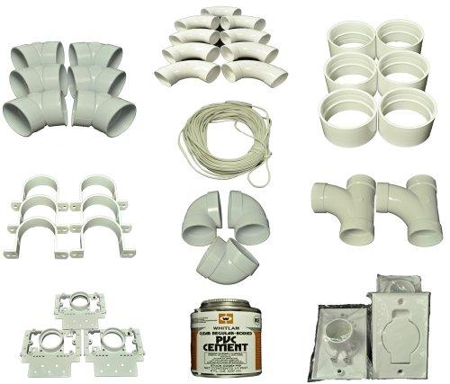 Central Staubsauger 3Einlass instillation Kit Montage, enthält, 9Sweep 90Grad ELLS, 2Sweep 90Grad-Tees, 3kurz 90Grad ELLS, 6–45Grad ELLS, 6Kupplungen, 6Rohr, Träger, 3einlassventile, 3Montageplatten, 80Füße 18/2Draht, (Tee Tag In Den Zurück Die)
