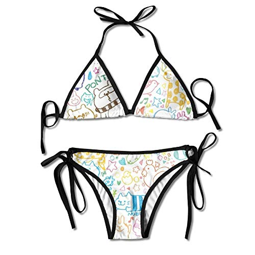 3D Flower Print Animal Color Strokes Custom Sexy Beach Swimwear Women's Triangle Bralette Bikini Set of 2 -