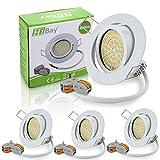 HiBay® Ultra Flach LED Einbaustrahler - Tolles Design - Naturalweiss - 3,5W 230V Weiß Schwenkbar - Einbauspots - LED Einbaurahmen- 4 Stück Einbauleuchten - 2 Jahre Garantie