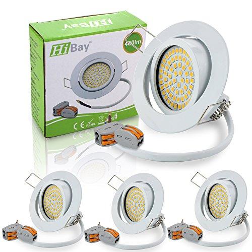 HiBay® Ultra Flach LED Einbaustrahler - Tolles Design - Naturalweiss - 3,5W 230V Weiß Schwenkbar - Einbauspots - LED Einbaurahmen-- 4 Stück Einbauleuchten - 2 Jahre Garantie