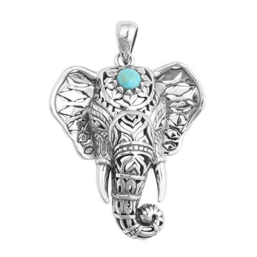 GUUTUUG Collar de Esmalte de Elefante de Plata de Buena Suerte de...