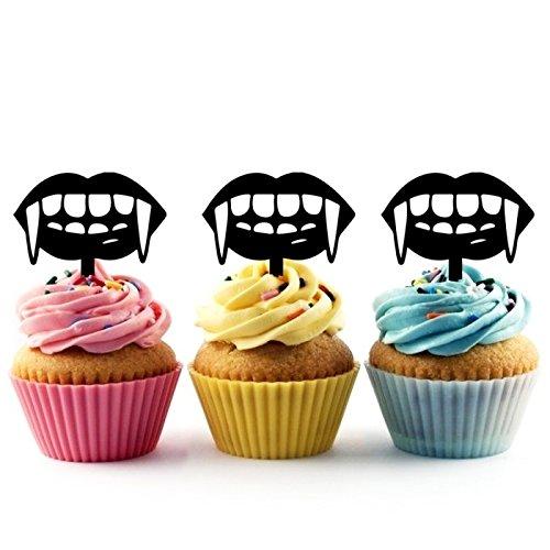 Vampire Teeth Halloween Kuchenaufsätze Hochzeit Geburtsta Acryl Dekor Cupcake Kuchen Topper Stand für Kuchen Party Dekoration 10 Stück
