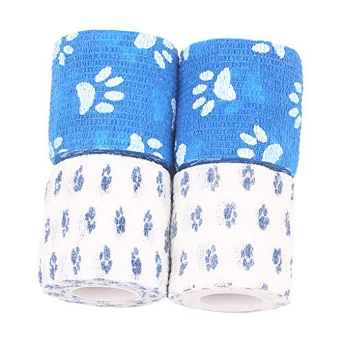 Baoblaze 4er Set Selbstklebende Bandage Multifunktion Klebeverband Erste Hilfe Sport Wrap Haftbandage für Haustiere Hund Herren Damen