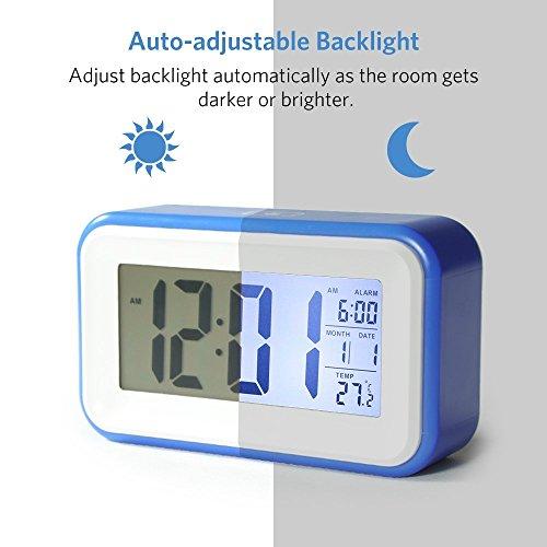 Reloj Despertador Digital de Gran Pantalla Silencioso VADIV CL 01 con Fecha Indicador de Temperatura Calendario y Luz de Noche Alarma con Sensor Táctil y de Luz Se Carga por USB o Batería AAA Azul Oscuro