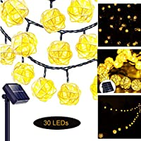 Solar Powered String Lights Warm White 30 LED Outdoor Fairy Light Rattan Ball Hollow Decoration Lighting for Garden Yard Patio Camping Party Home Bedroom Living Room Christmas Tree