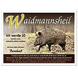 Einladungskarten Geburtstag exklusiv für Jäger und Jagd Motiv Wildschwein Wild Waidmannsheil, 70 Karten - 21 x 14,8 cm DIN A5