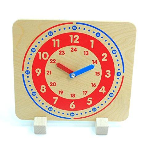 Lernuhr aus Holz mit Aufsteller / mit Stunden und Minutenaufdruck / Zeiger aus Holz / Größe: 24 x 27 x 7 cm / Made in Germany / ab 3 Jahre