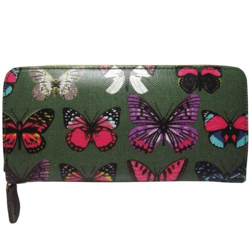 UKFS ragazze delle signore Nicole gufo / Farfalla Stampa olio panno borsa / raccoglitore / frizione (Farfalla Grigio) Farfalla Verde