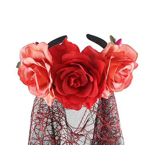 Flower Headpiece Kostüm - AffoOn Accessoires Dance Dead Flower Crown Weibliche Party Halloween Day Girls Headpiece Geschenke