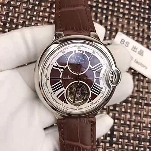 PLKNVT Automatische Mechanische Herrenuhr Leder Silber Rose Gold Transparent Mondphase Uhren Schwarz Blau Tourbillion BraunLeder Weiß