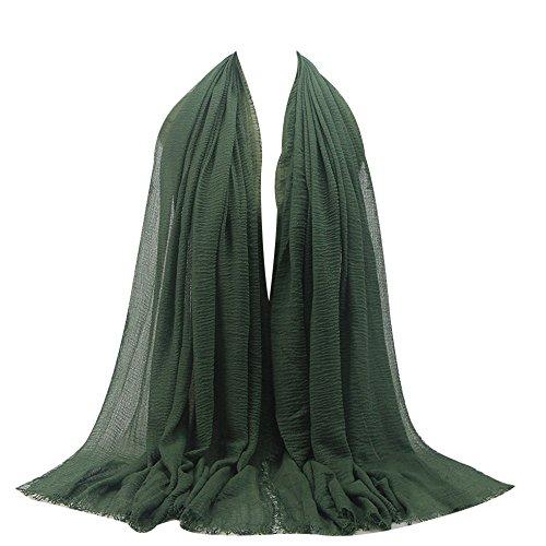 e Maxi Crinkle Cloud Hijab Schal Pashminas Soft Islam Muslim Kopftücher Umhang,Green 21# ()