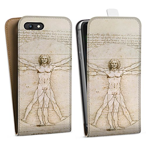 Apple iPhone X Silikon Hülle Case Schutzhülle Leonardo da Vinci The Proportions of Man Kunst Downflip Tasche weiß