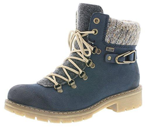 Rieker Damen Winterstiefel Y9131,Frauen Winter-Boots,warm,Tex-Membran,wasserfest,Blockabsatz 3.6cm,Pazifik/anthrazit/Graphit, EU 41