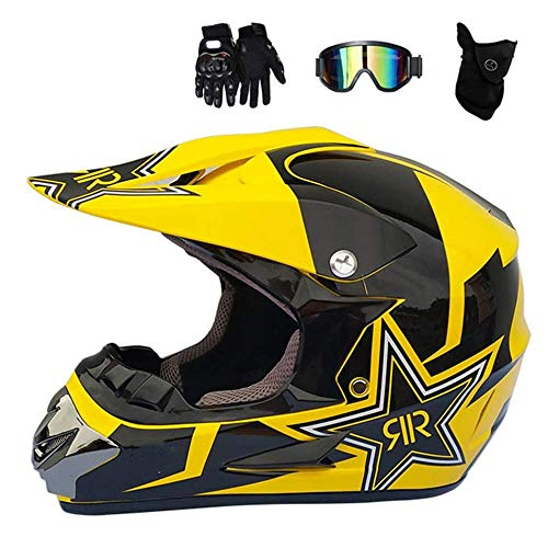 Cross-country-t-shirts (LYDIUY Motocross Helm Kinder Mattschwarz und Gelb Männer Klage mit Goggles Handschuhe Maske Full Face Fahrradhelm Cross Country)