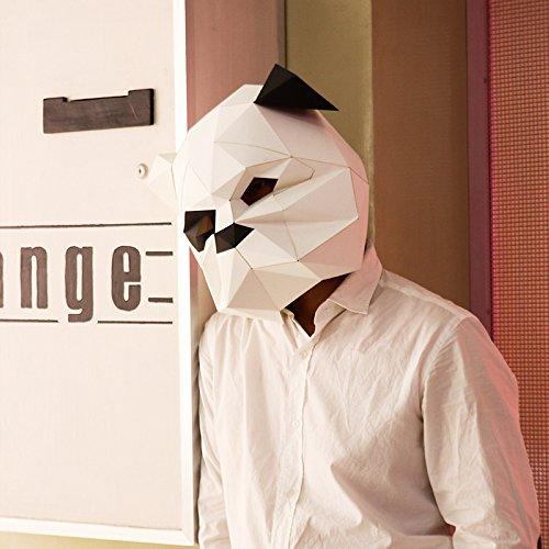 Maxleaf 3D Papier Maske Tierkopf Formen DIY Halloween Party Kostüm Cosplay Gesichts Papier-Handwerk Kit Hund Design (white) (Hund Kostüme Diy)