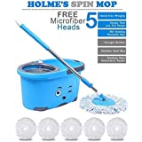 [Sponsored]HOLME'S Magic Spin Mop Bucket Double Drive Hand Pressure With 5 Micro Fiber Head Household Floor Cleaning (HOLME'S-MIG382032)