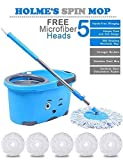 #7: HOLME'S Mop Bucket Magic Spin Mop Bucket Double Drive Hand Pressure with 5 Micro Fiber Mop Head Household Floor Cleaning & 4 Color May Vary (with Soap Dispenser)