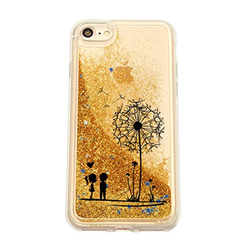 finoo | Iphone 6 Plus / 6S Plus Flüssige Liquid Goldene Glitzer Bling Bling Handy-Hülle | Rundum Silikon Schutz-hülle + Muster | Weicher TPU Bumper Case Cover | Katze auf Ast Pusteblume